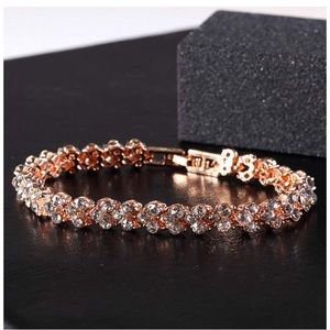 Rose Gold Swarovski Elements Heart Tennis Bracelet